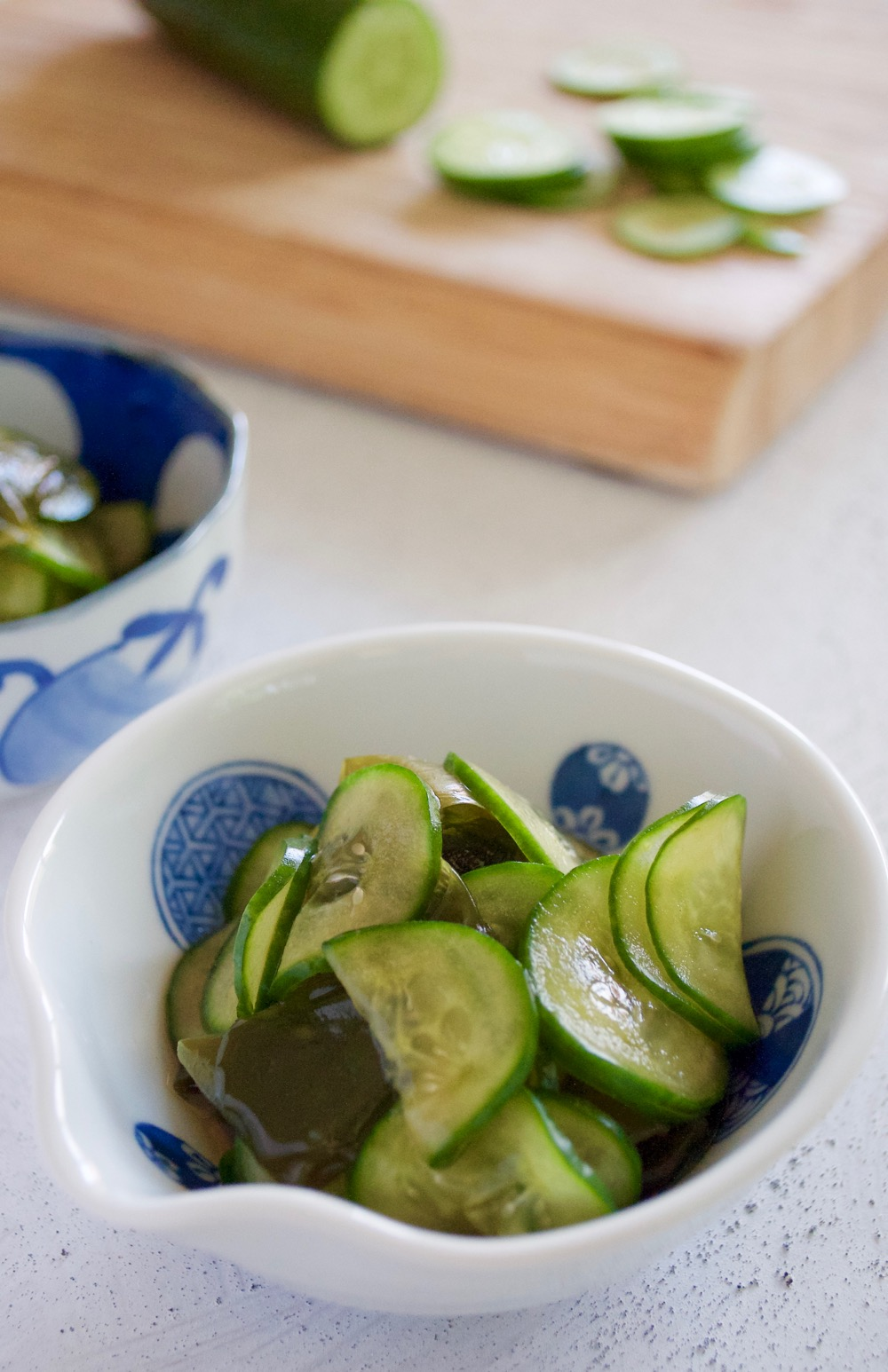 The most popular combination of Sunomono (vinegar Dressing) is this cucumber and Wakame seaweed. Simple to make and delicious.