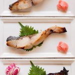 Saikyo Yaki Fish showing three different grilled fish.