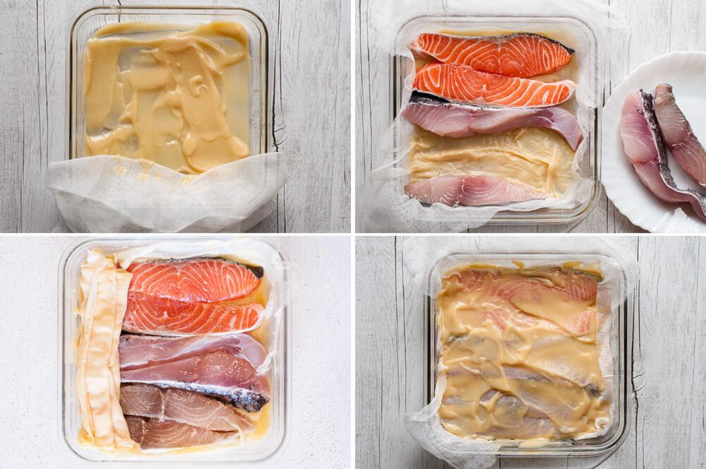 Step-by-step photo of marinating fish in Saikyo Yaki Fish Marinade.