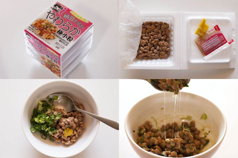 Natto has distinct smell and sticky but when you become fond of it, you love it.