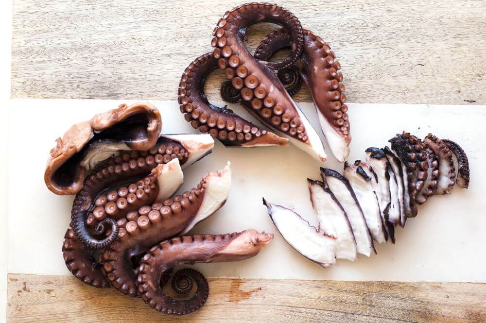 Boiled octopus with slices