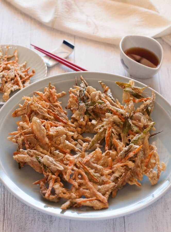Kakiage is a type of tempura made with a variety of vegetable strips, often with seafood. This is a popular home cooking dish as it uses leftover vegetables to clean up the fridge for the week.