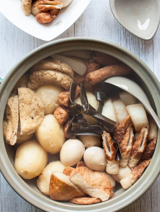 Oden is a kind of hot pot consisting of daikon, potatoes, eggs, Konbu (kelp), konnyaku, and different types of fish cakes, simmered in lightly flavoured soup stock.