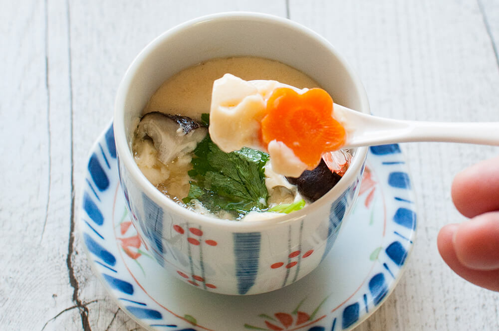 One of the few Japanese dishes that is eaten with a spoon, Chawanmushi is the appetiser that is almost always served in Kaiseki ryori. The egg is mixed with dashi, soy sauce, mirin and salt, then carefully steamed with various ingredients in it. The texture of the egg custard is so smooth and delicate.
