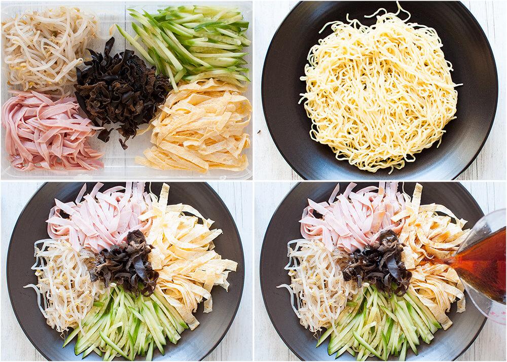 Simple process to make hiyashi chūka.