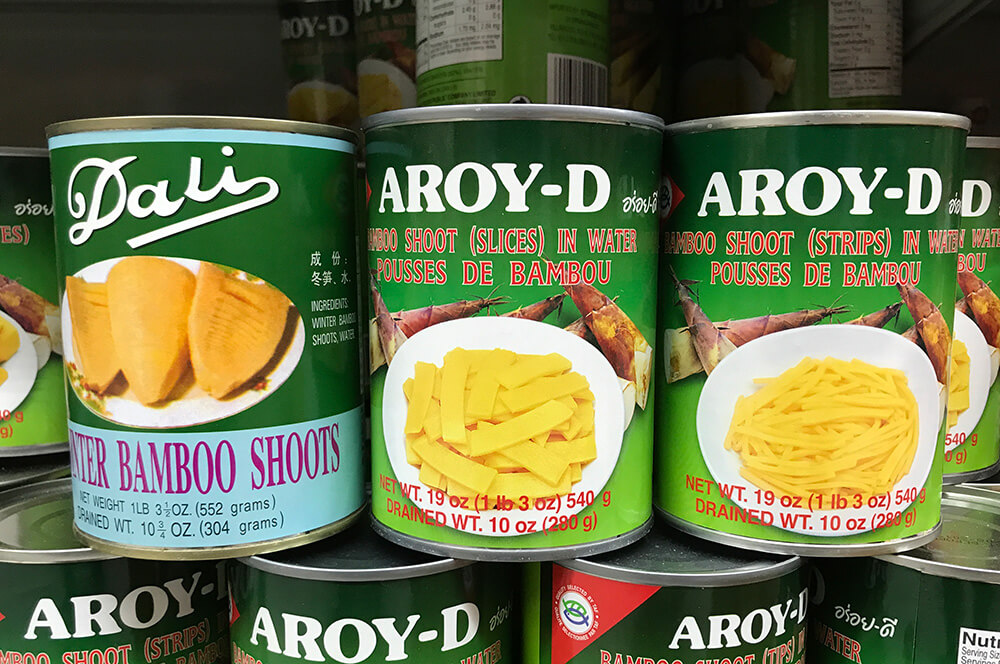 Varieties of canned bamboo shoots.