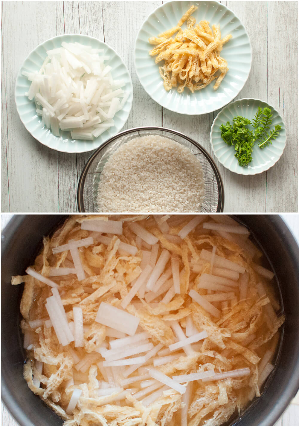 The combination of rice, daikon (white radish) and aburaage (fried thin tofu) in daikon gohan is just perfect. This is another mixed rice recipe similar to Shimeji Gohan (rice with Shimeji Mushrooms) but the soy sauce flavour of the rice is slightly stronger. Use konbu dashi stock to make it 100% vegetarian.