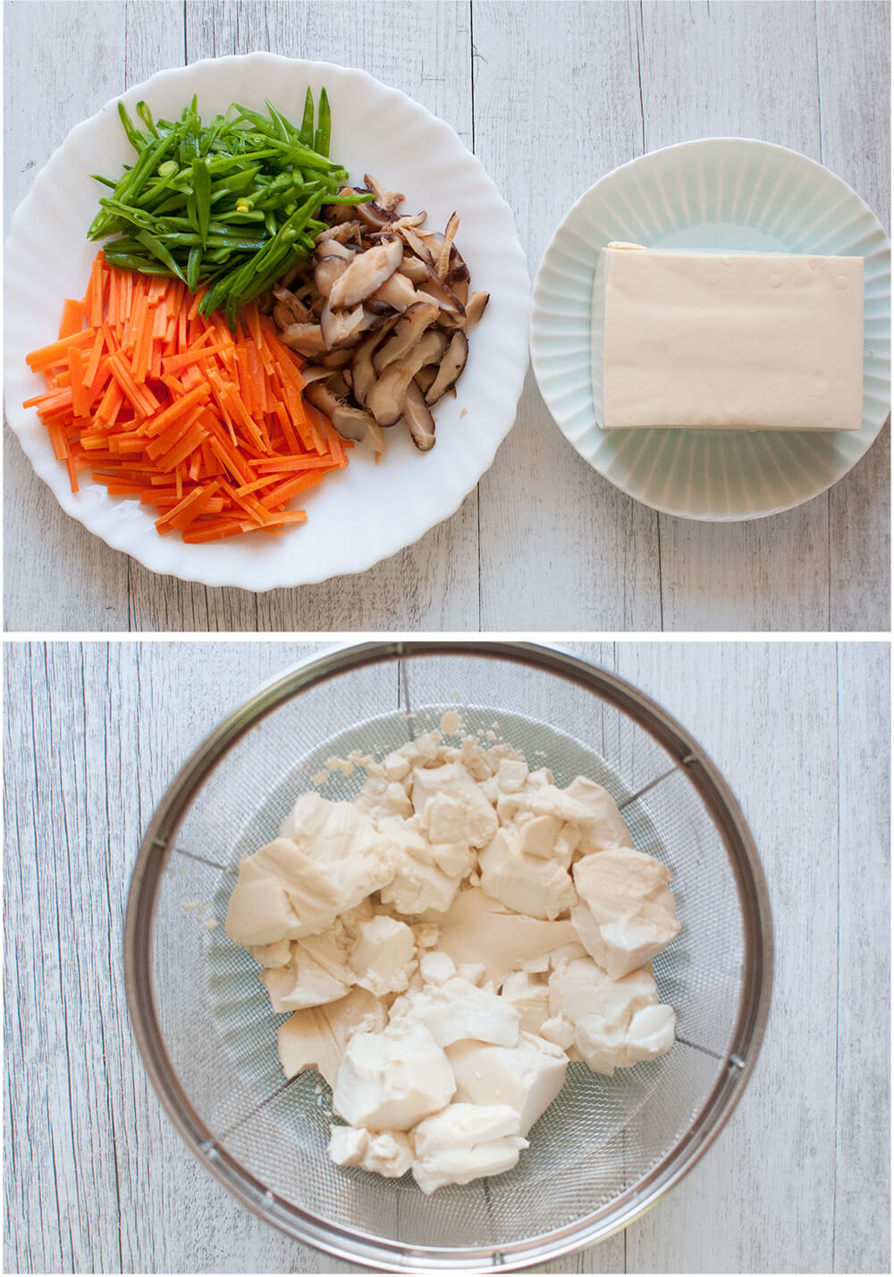 Scrambled Tofu is a delicious vegetarian side dish. Or perhaps you could call it a warm salad. It is a typical home cooking dish and quite simple to make.