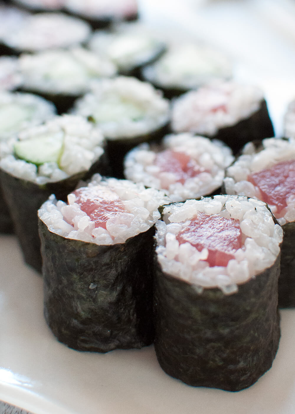 Sushi rolls are becoming a popular healthy take-away food in Australia. Most of them are made as large thick rolls, but the sushi rolls made at traditional sushi restaurants are thin, tiny rolls just perfect for finger food.