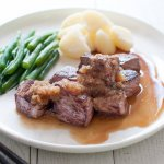 Bite-sized beef steak, Diced Beef Steak is a Japanese invention, easy to pick up with chopsticks. Both sauces are soy-based – one with wasabi flavour, the other one with grated onion, apple and garlic. It is so fast to cook!
