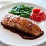 Just like my teriyaki chicken, teriyaki salmon is another popular home cooking dish in Japan.  It is so quick and easy to make. The teriyaki sauce goes so well with pan-fried fish and it is really yummy.