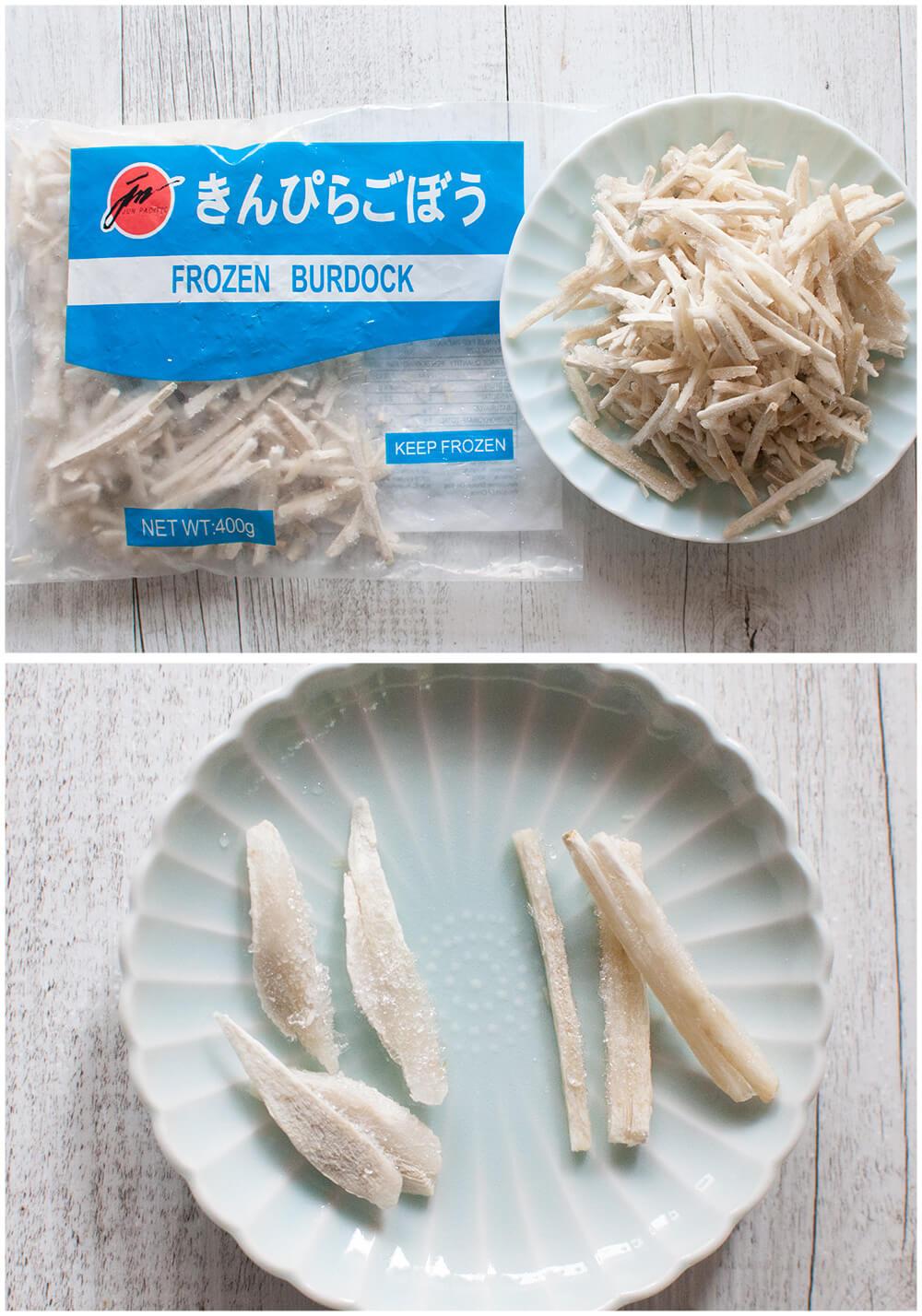 Frozen burdock cut into two different ways.