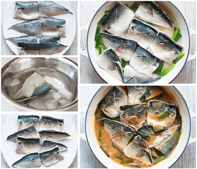 Step-by-step photo of how to make simmered Mackerel in Miso.