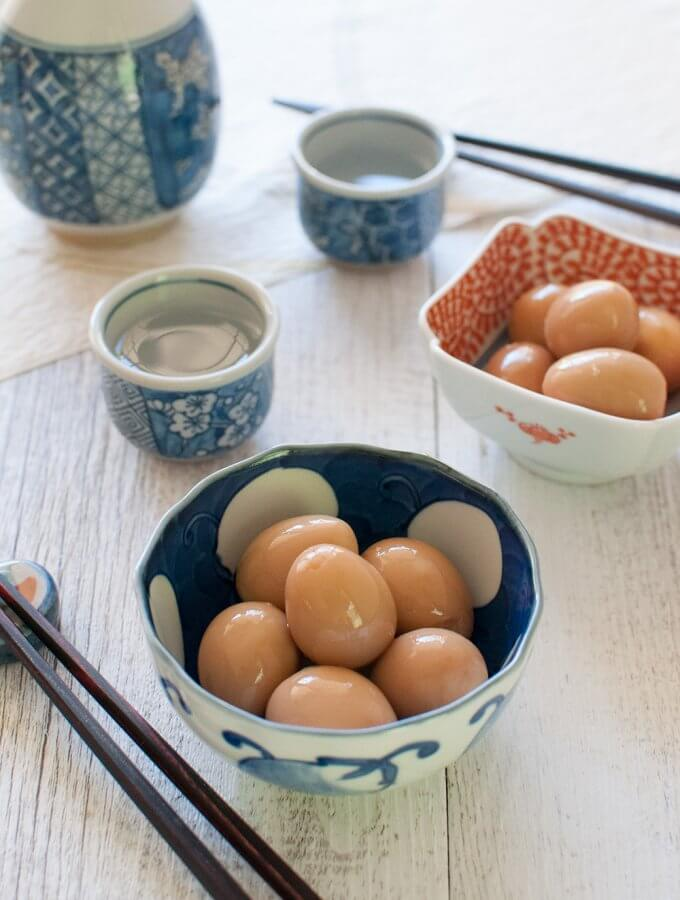 Marinated quail eggs served in a small bowl as a starter, just like the way served at Izakaya.