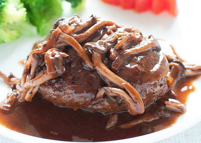 Zoomed-in photo of Stewed Hamburg Steak with Shimeji Mushroom Sauce