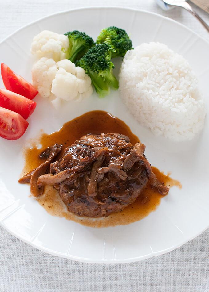 Stewed Hamburg Steak with rice and vegetables.