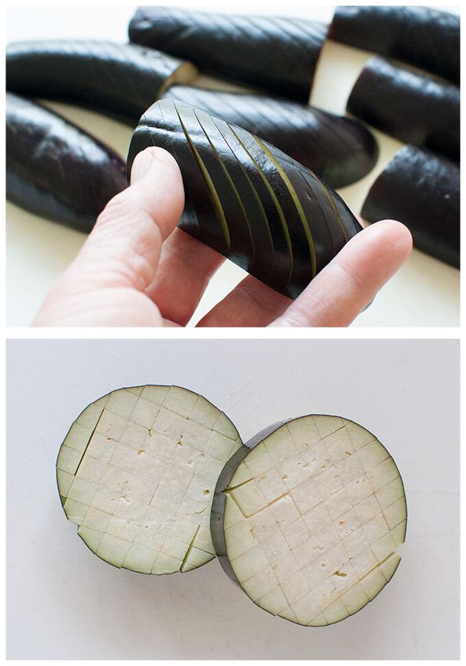Two ways of scoring eggplants.