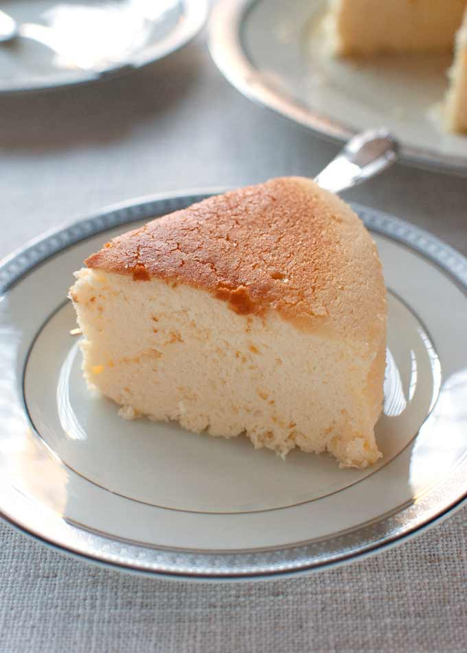 A slice of Japanese Cheesecake served on a plate.