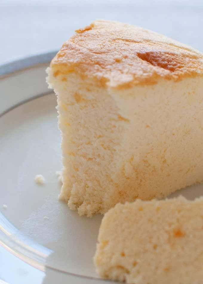 Showing fluffy inside of the Japanese Cheesecake.