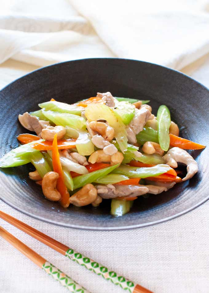 Chicken Stir Fry With Celery Carrot And Cashew Recipetin Japan