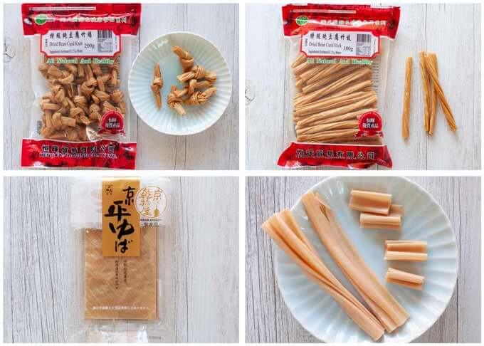 Dried Tofu Skin (Yuba) in different forms.