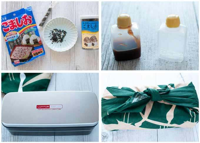 Photos of Gomashi (black sesame seeds & salt), plastic sauce bottle, double decker bento box and bento box wrapped in a Japanese fabric wrapper.