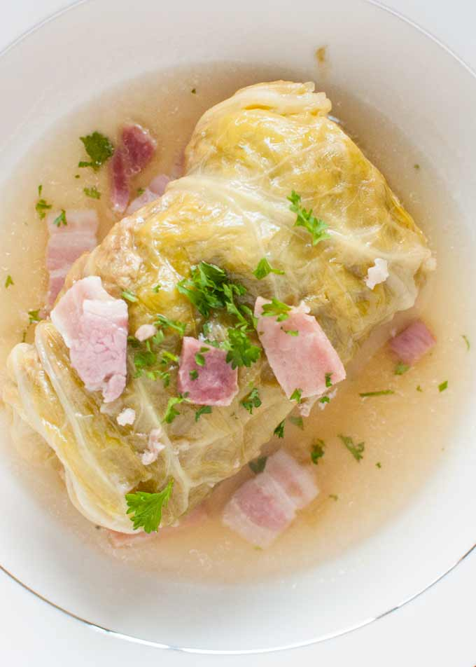 Photo of cabbage roll from the top.