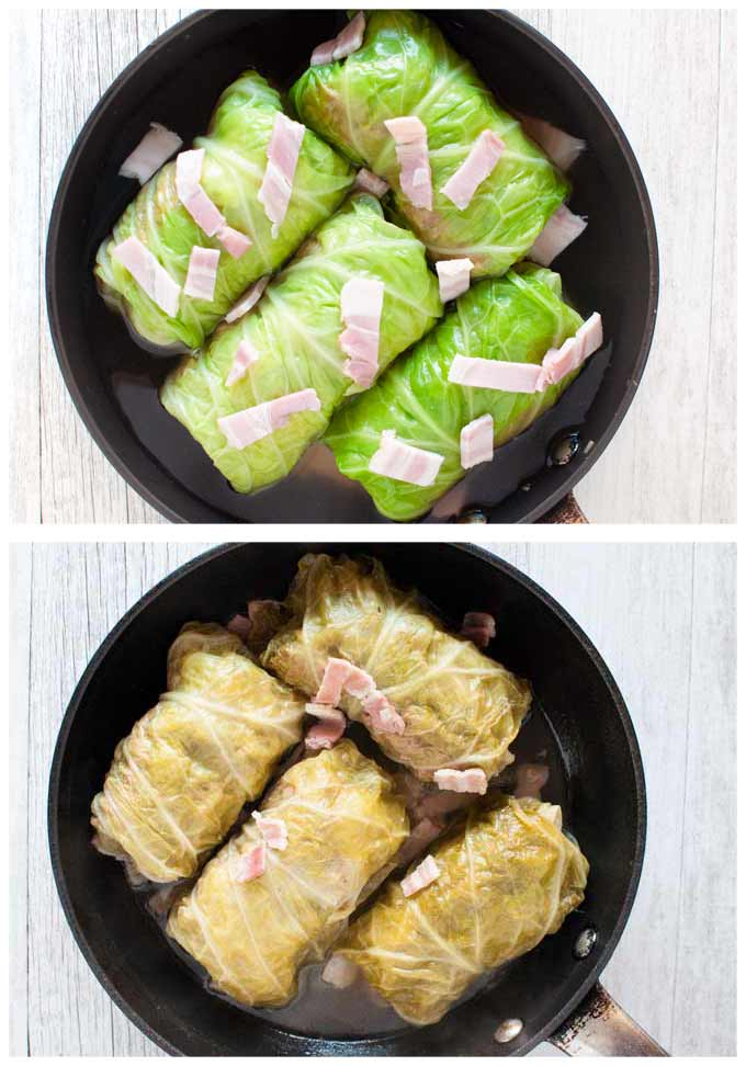 Cabbage rolls in a frying pan before and after cooking.