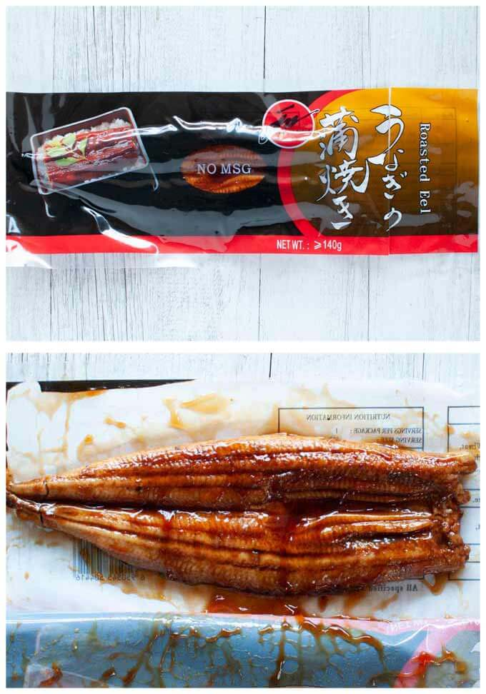 Japanese grilled eel - a frozen pack and the inside of the pack.