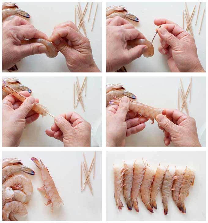 How to prepare prawns  and not to curl when cooked.