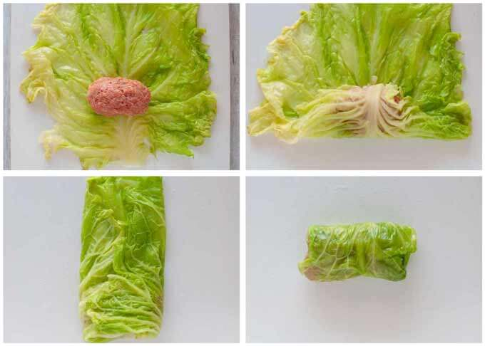 Step-by-step photo of how to roll cabbage.
