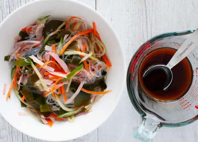 Vermicelli salad - mixed ingredients with dressing.