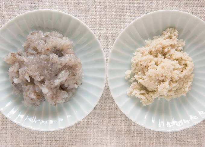 Ingredients of Shrimp Balls - chopped shrimp and hanpen.