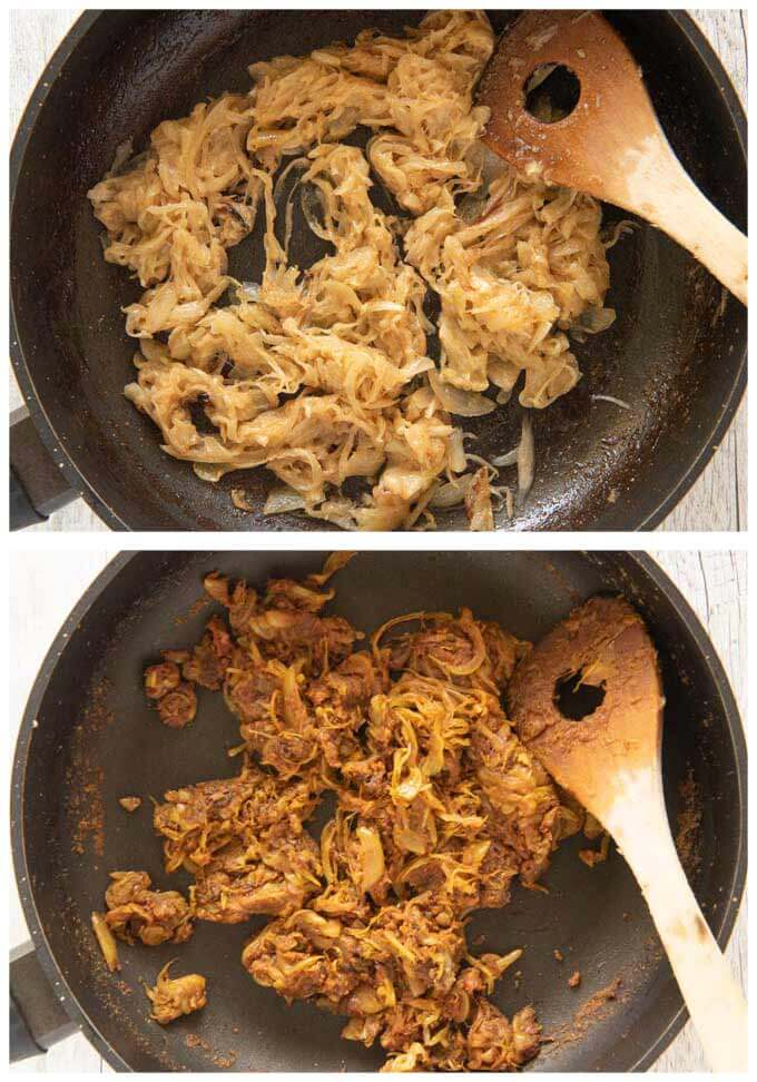 Photos of making Vegetarian Curry base by sautéing onion slices.
