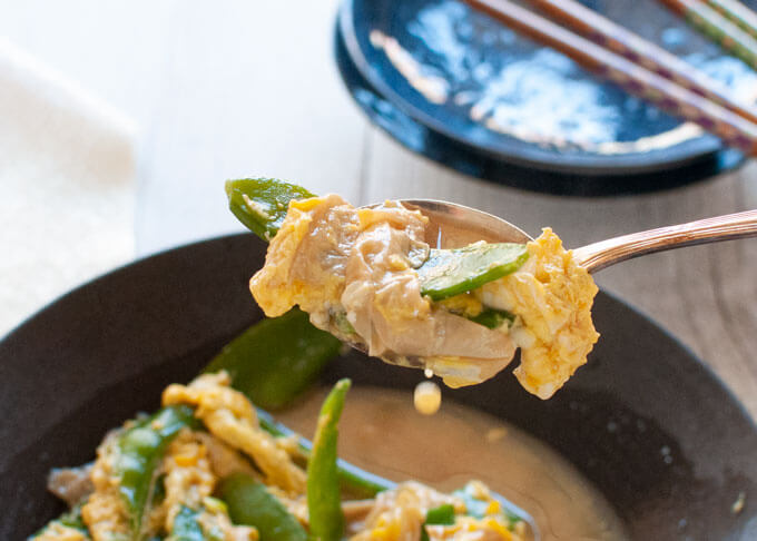 A spoonful of Japanese Style Scrambled Eggs (Tamago Toji).