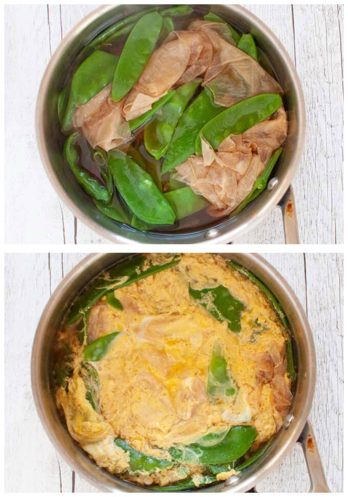 Photos of before and after adding eggs to the cooked vegetables to make Japanese Style Scrambled Eggs (Tamago Toji).