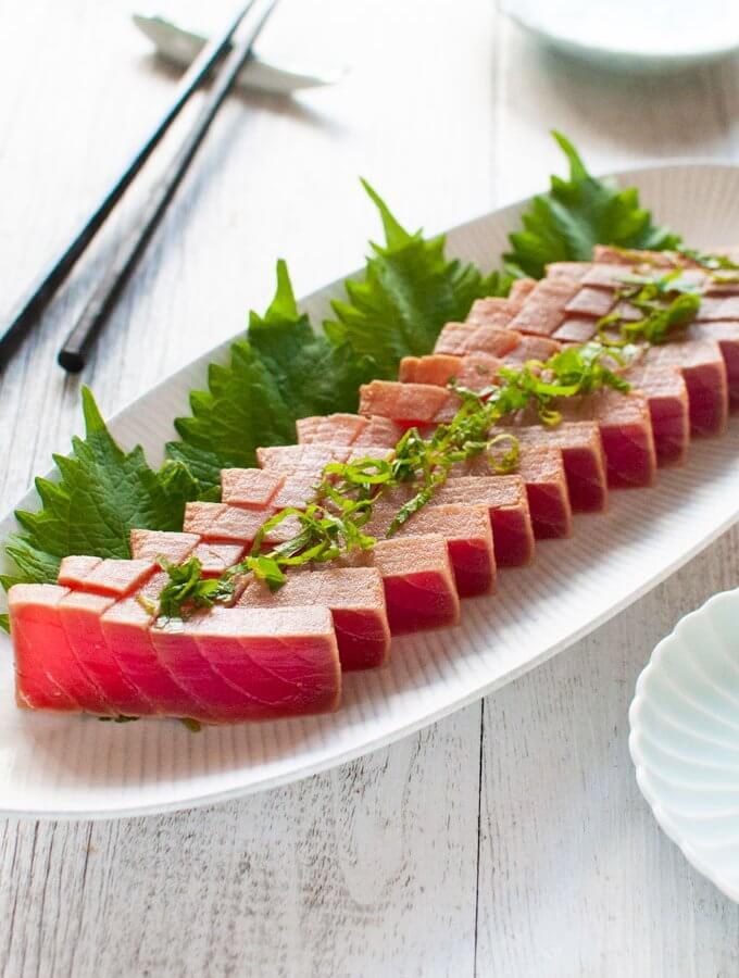 Hero shot of Marinated Tuna Sashimi.
