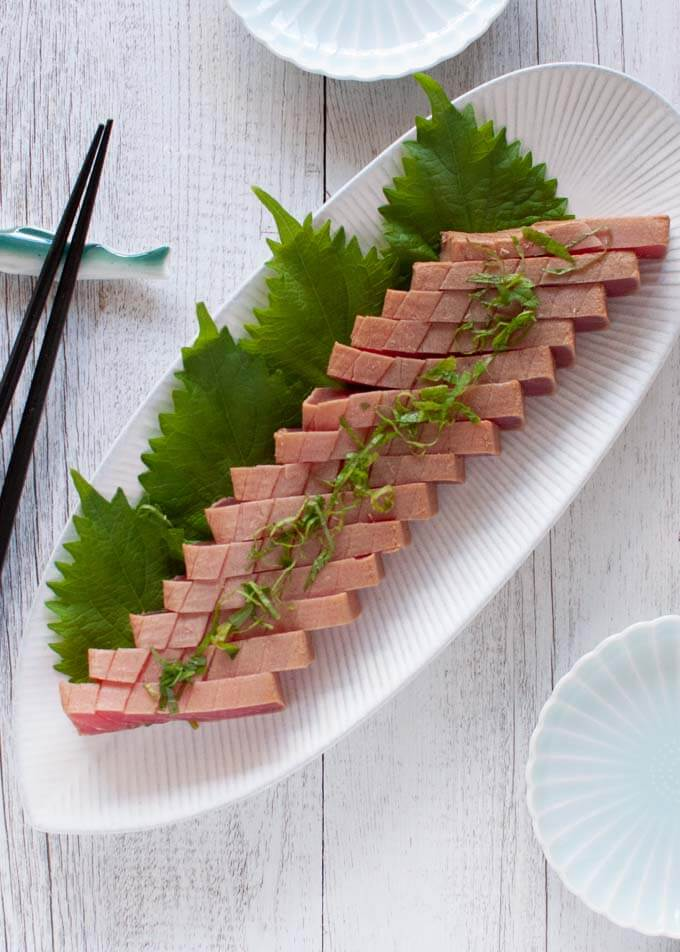 Top-down photo of Marinated Tuna Sashimi.