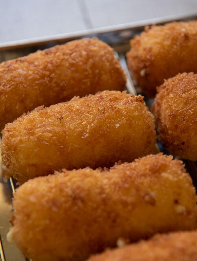 Hero shot of zoomed-in Creamy Shrimp Croquettes.