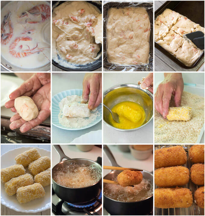 Step-by-step photo of making Creamy Shrimp Croquettes.