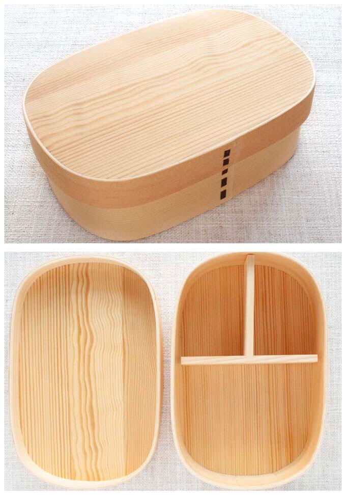 Traditional Japanese Magewappa (wood craft) bento box.