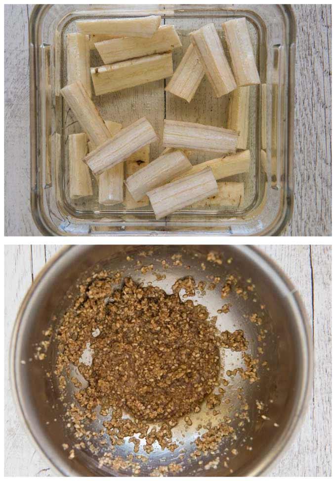 Burdock pieces in vinegar water and sesame dressing.
