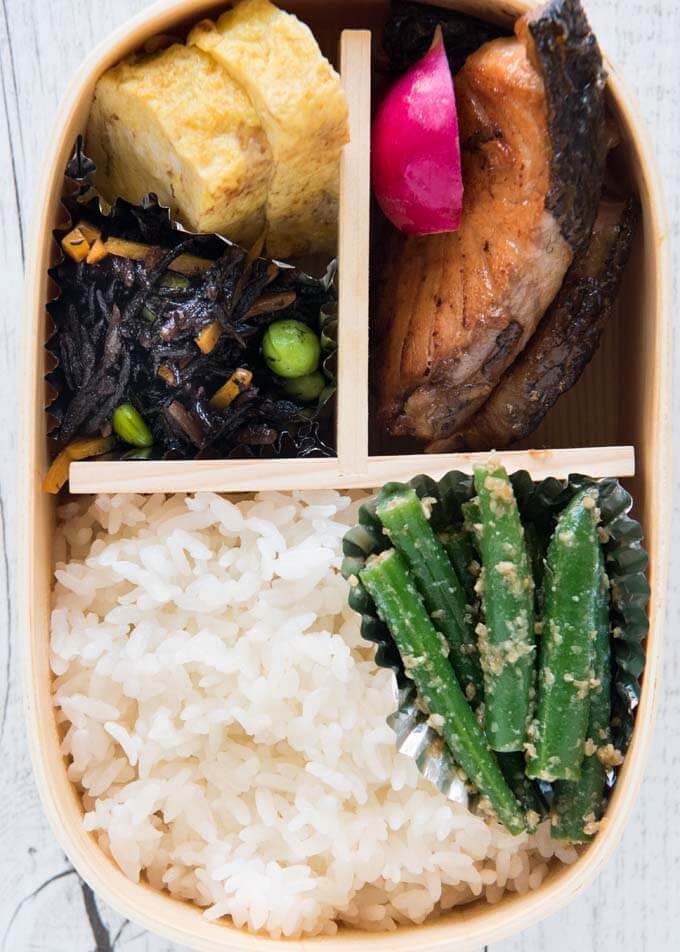 Top-down view to Teriyaki Salmon Bento.