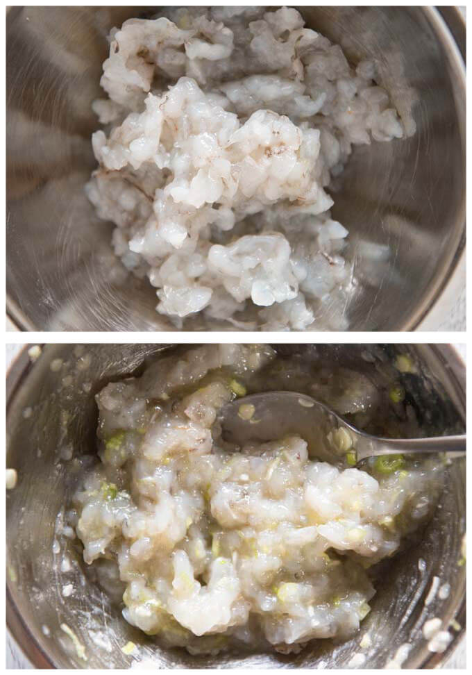 Prawn mixture to go inside lotus root sandwiches.