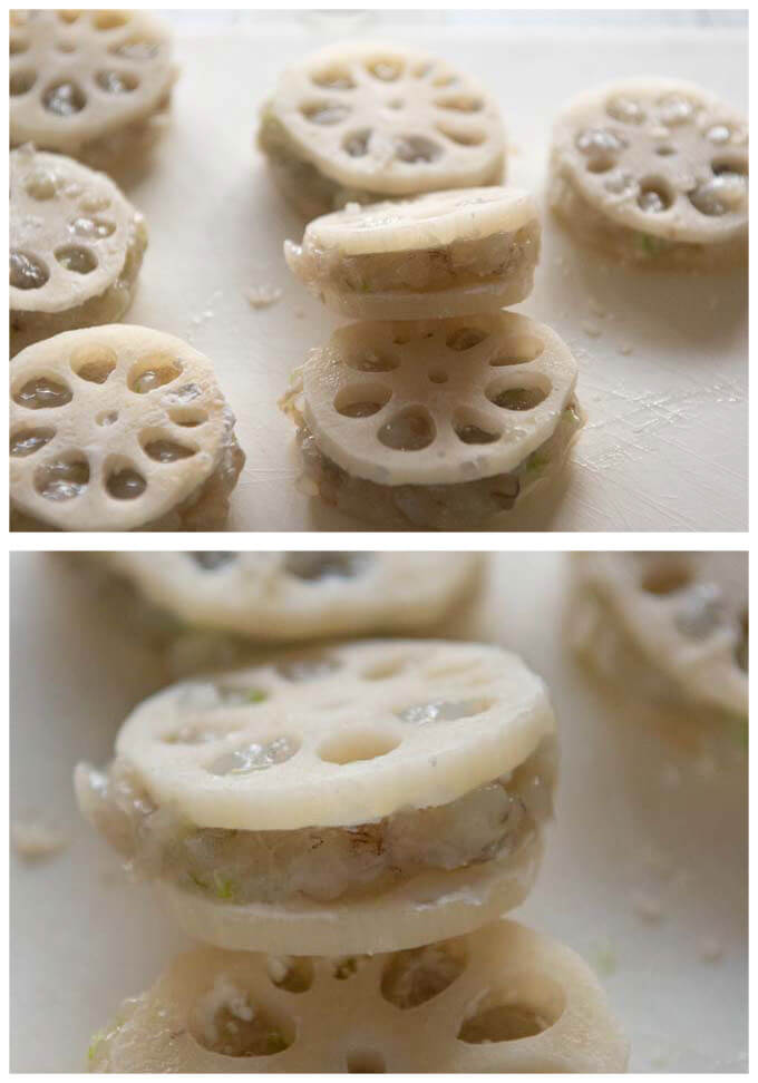 Lotus root and prawn sandwiches before deep frying.