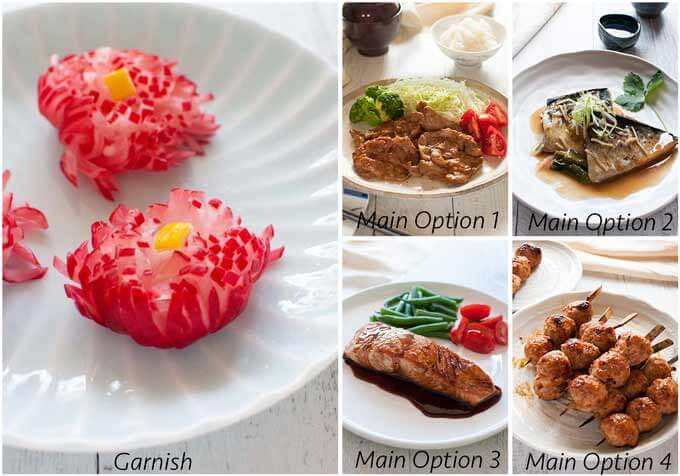 Menu idea with Pickled Chrysanthemum Radish.
