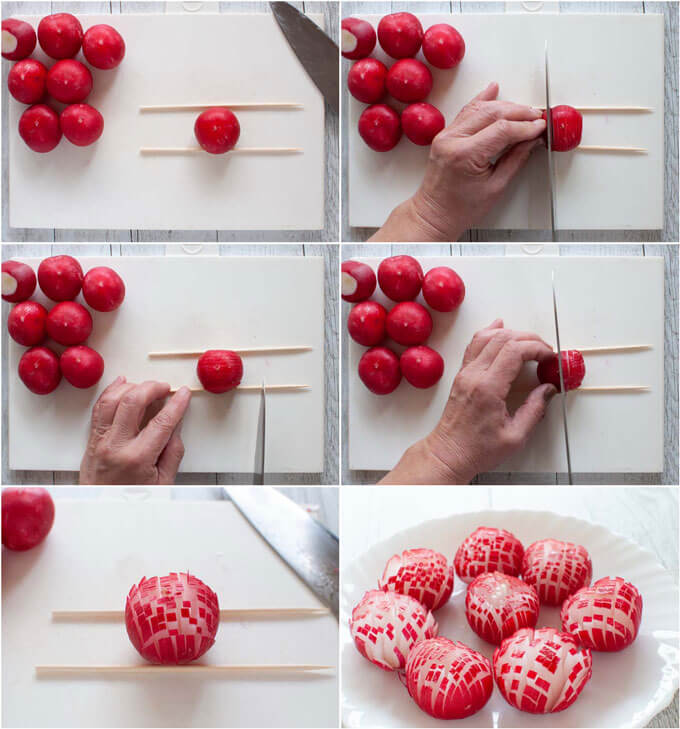 Step-by-step photo of criss-crossing a radish to make a chrysanthemum flower.