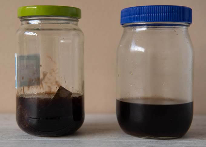 Two jars of home-made Ponzu - one with ingredients in it, one after filtering.
