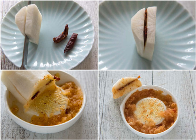 Step-by-step photo of making Momiji Oroshi (grated daikon with chillies).