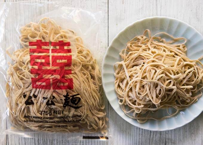 Flat egg noodles bought from an Asian grocery store.